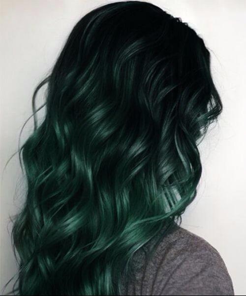 pelo de bosque verde caída de cabello colores
