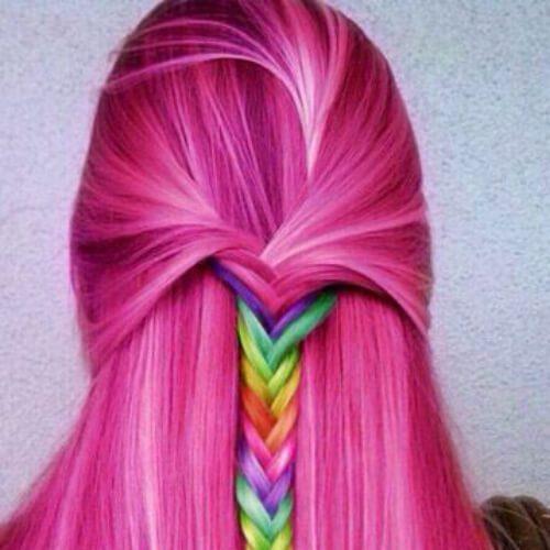 arcoiris en peinados trenza rosa para pelo largo