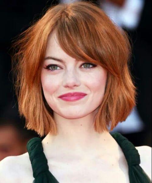 emma stone peinados cortos para cabello grueso