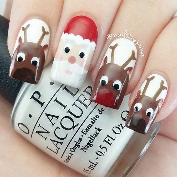 Santa y renos Navidad Nail Art.