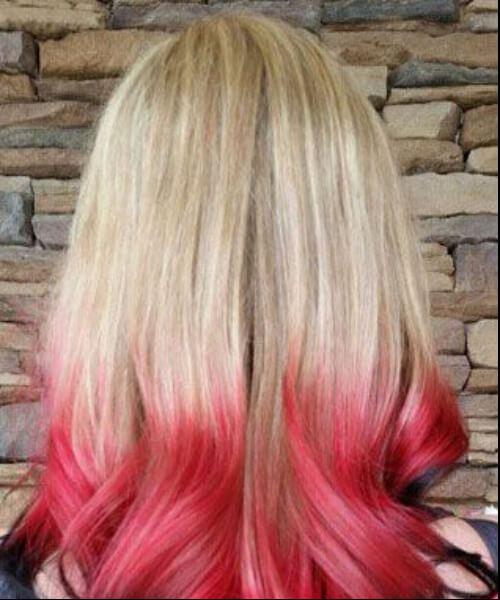 cabello ombre rubio, negro y rojo