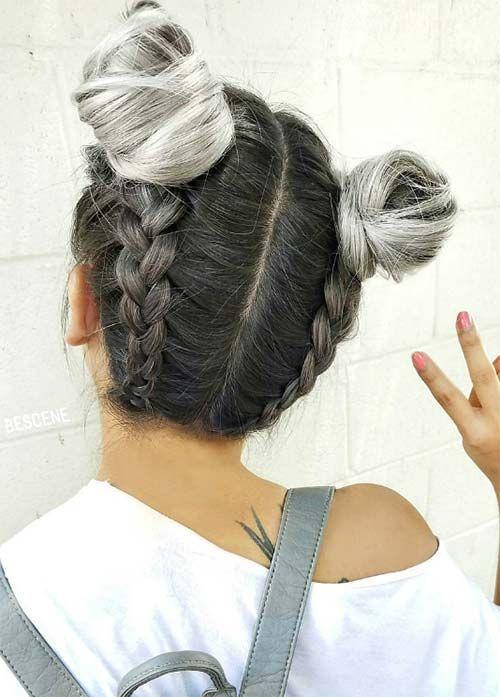 nudos y trenzas superiores del pelo gris