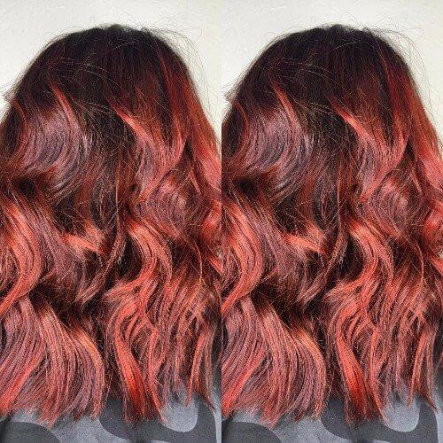 Sombras de pelo rojo