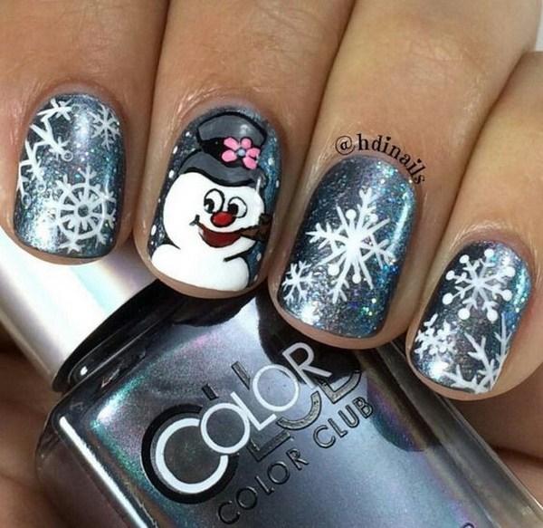 Frosty Snowman Nail Art para Navidad.