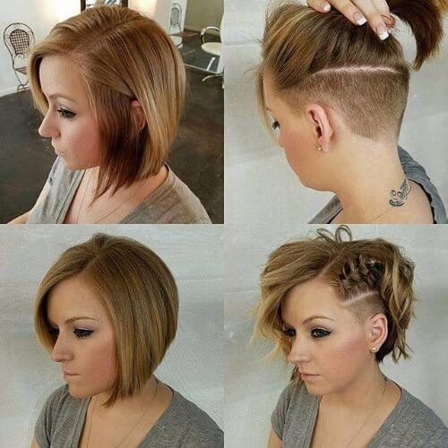 trenzas de corte lateral de pelo bob updos para el pelo corto