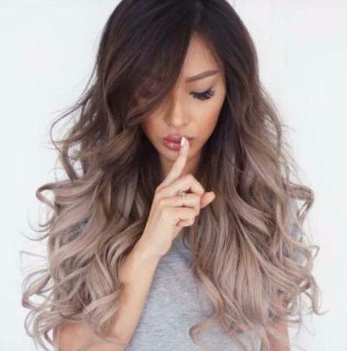 oscuridad a las cenizas balayage color de cabello