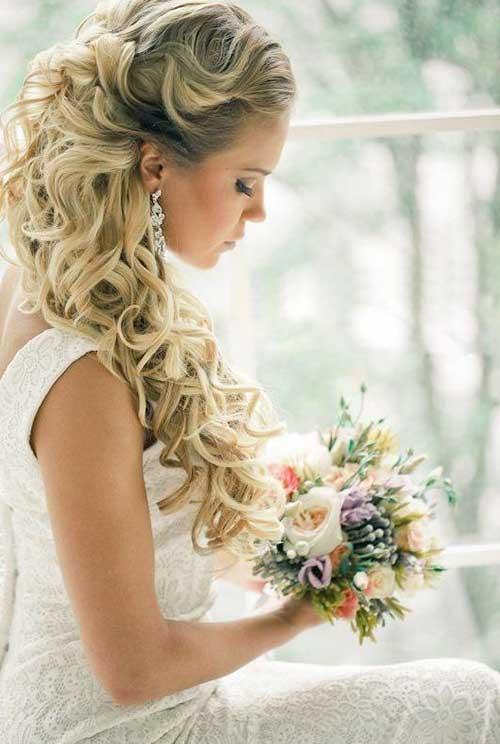 Elegante Rustic Half Up Half Down ondulado peinado de boda