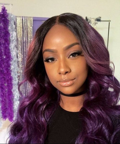 coser en peinados púrpura