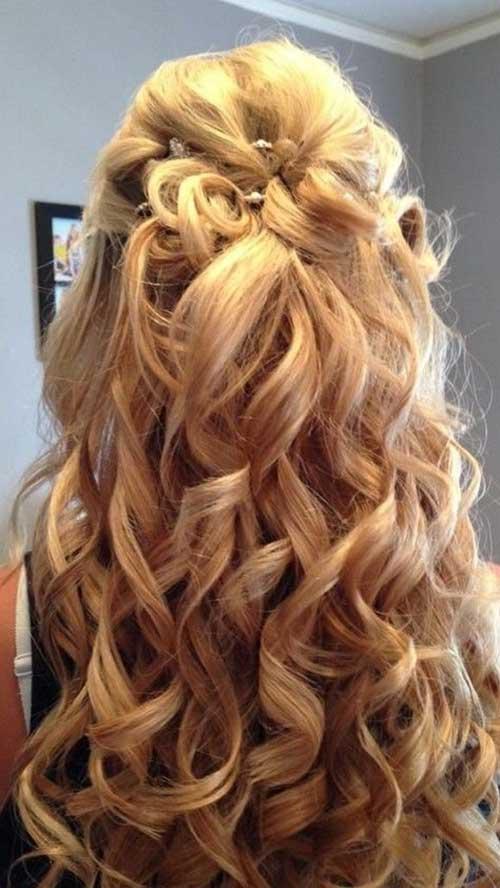 Glamorous Half Up Prom Peinado para el cabello rizado