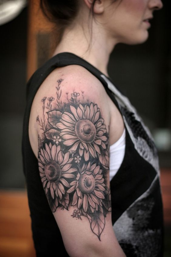 Vintage Grey Sunflower Tattoo.