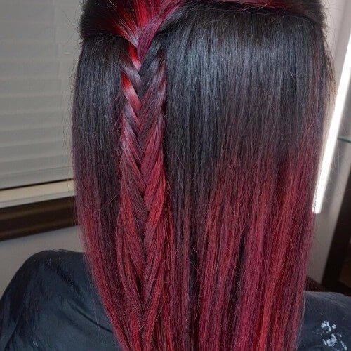 Pelo negro y rojo