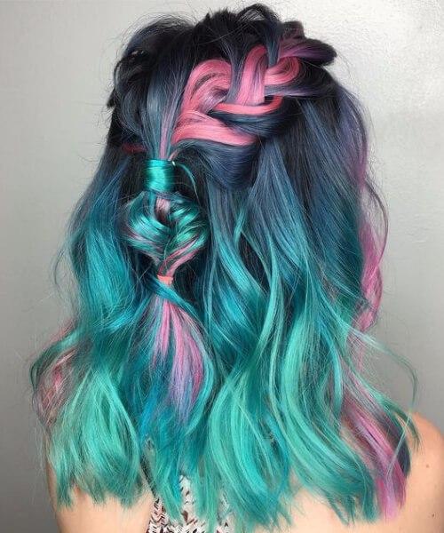 color de pelo verde azulado unicornio