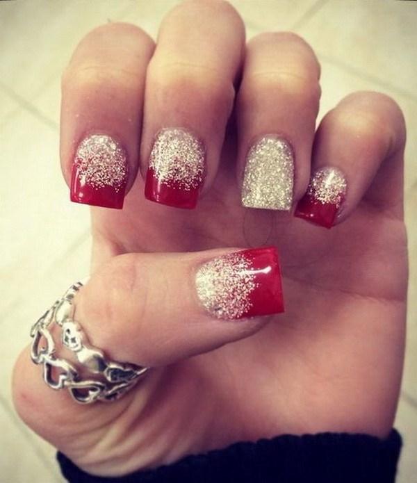Rojo y blanco Glitter Nail Art.