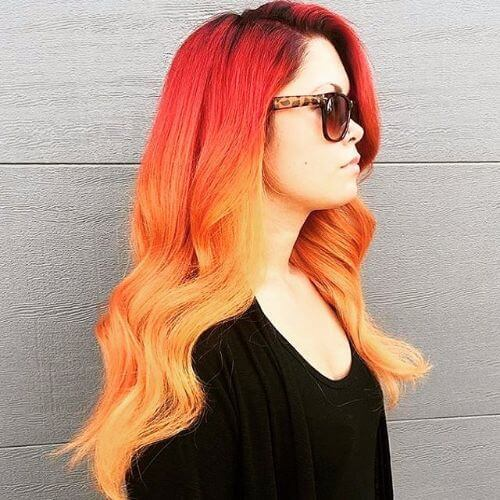 ombre rubio en el pelo rojo mandarina