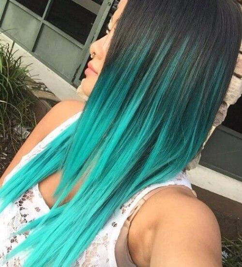 Ombre cabello ombre azul turquesa