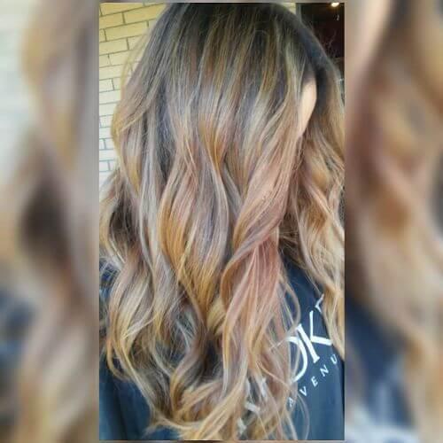colores de pelo caramelo mezclados en balayage de caramelo
