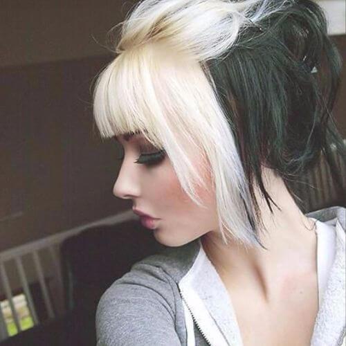 cabello rubio y negro