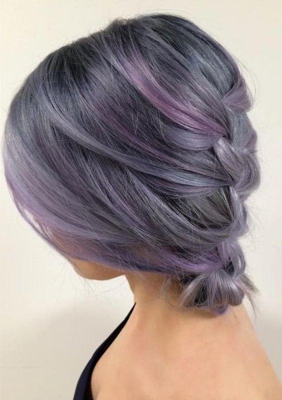 trenzado cabello gris púrpura