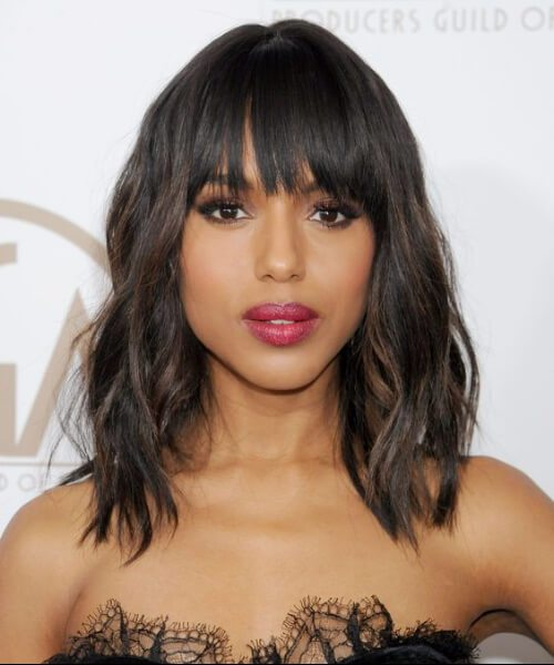 Peinados de Kerry Washington con flequillo