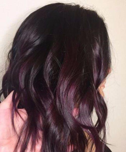ciruela sombreada morena caída cabello colores
