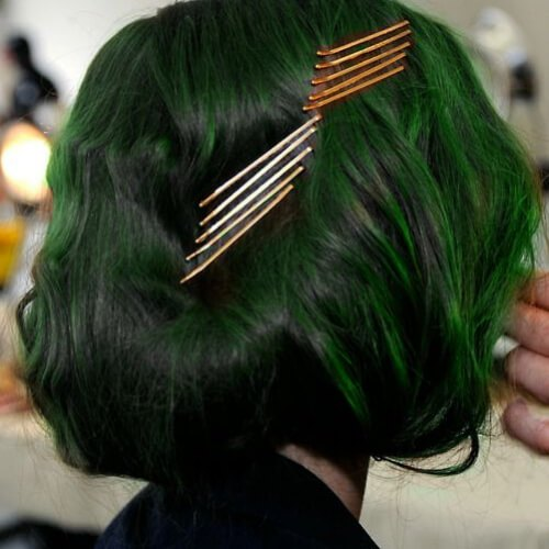 pasadores verdes peinados frescos para niñas