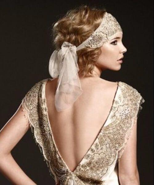 peinados de boda de pañuelo de fin de siglo para cabello largo