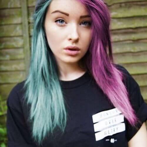 peinados emo para niñas pelo verde y morado emo