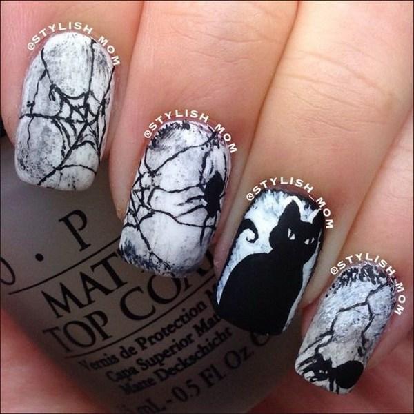 Cat Halloween Nail Art.  Ideas de arte de uñas de Halloween.