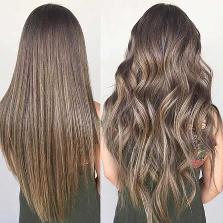 Cool Ash Blonde Blonde Ighlights en Brown Air Straight, Balayage, Ombre