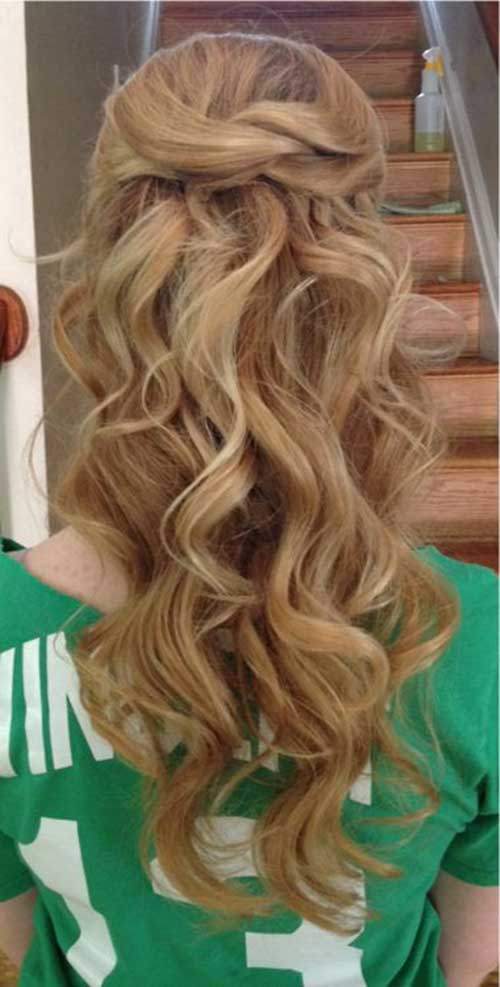 Beachy Curly Waves Hairstyles Half Up