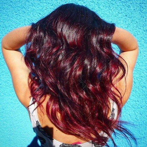 Balayage de pelo rojo marrón