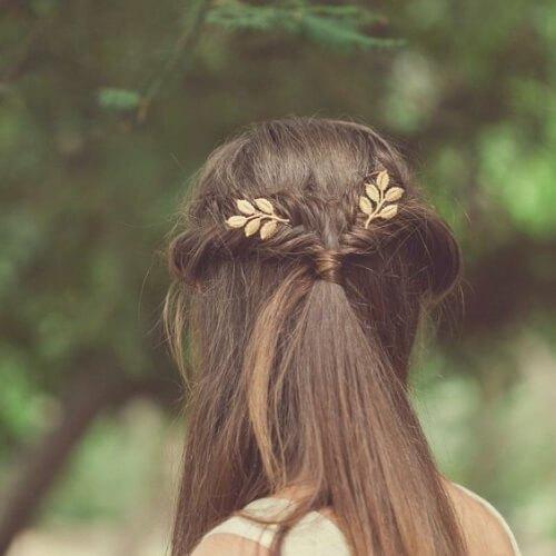 Pernos del pelo de la hoja de Grecian Peinados de oro para el pelo lacio