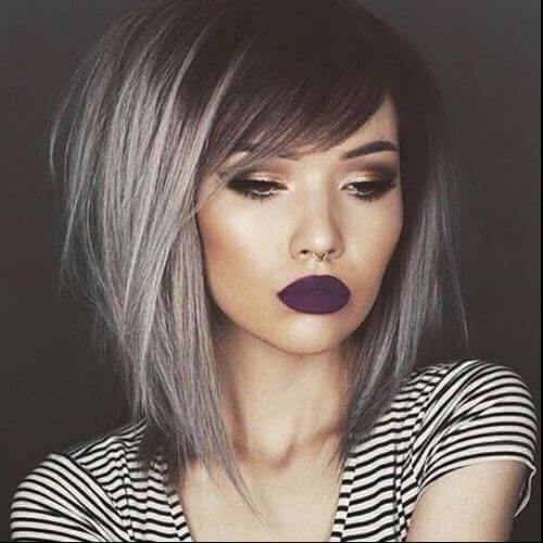 corte de pelo gris oscuro