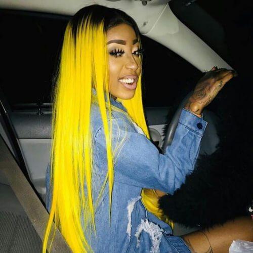 peinados de color amarillo limón para el pelo lacio