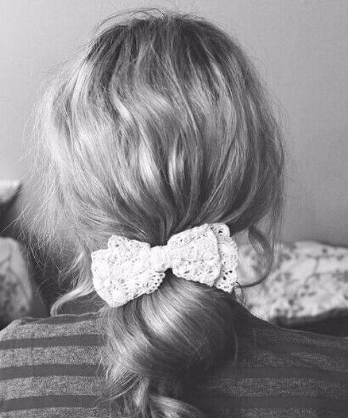 cinta de encaje dulce rollos peinados de longitud media