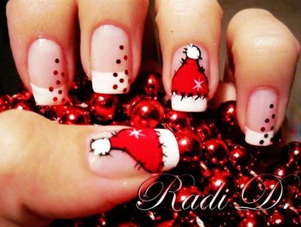 Navidad Nail Art Nail con Santa Hat Designs.