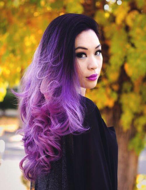 ombre pelo morado