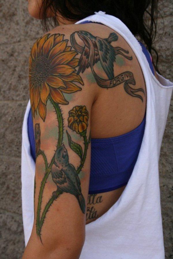 Vintage Sunflower Tattoo: ¡Totalmente increíble!