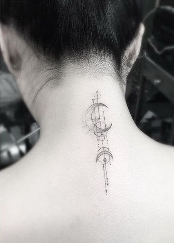 Moon Back of Neck Tattoo Design.