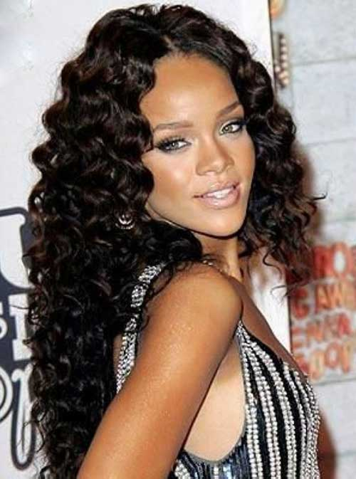 Rihanna Long Curly Hair-16