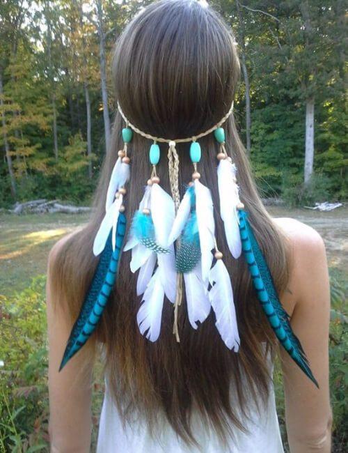 princesa nativa americana turquesa updos para cabello largo