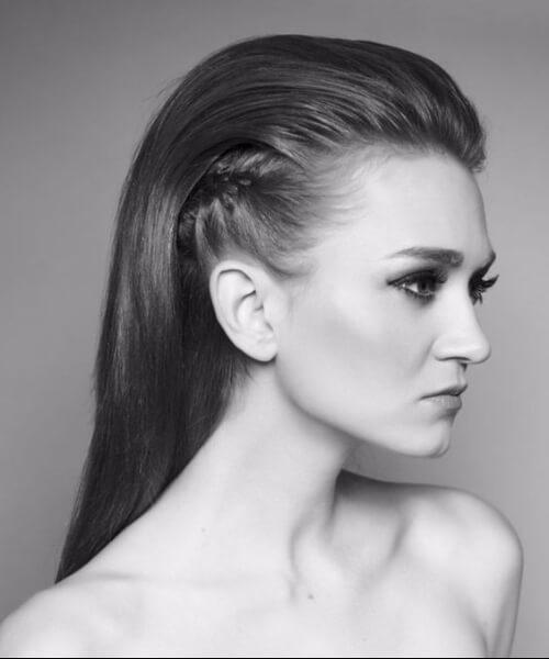 peinado hacia atrás faux halcón peinados largos