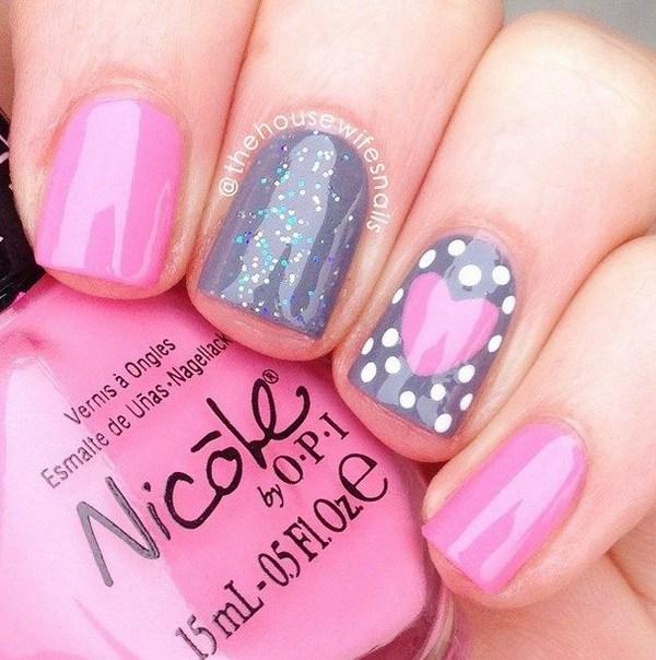 Cute Pink Heart Nails.