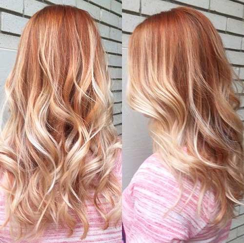 Largo cabello rubio fresa Ombre