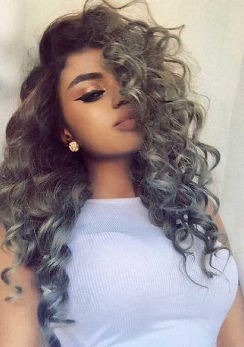 Peinados rizados grises