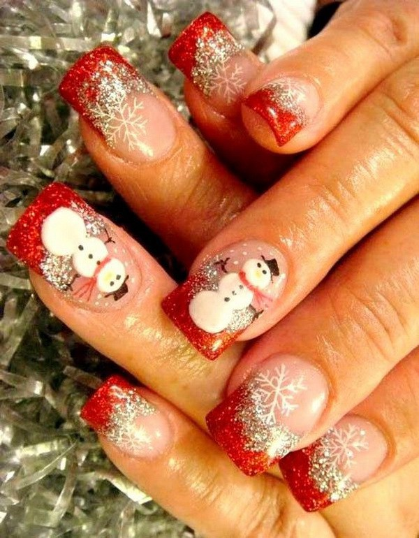 Snowman Christmas Nail Art Design.