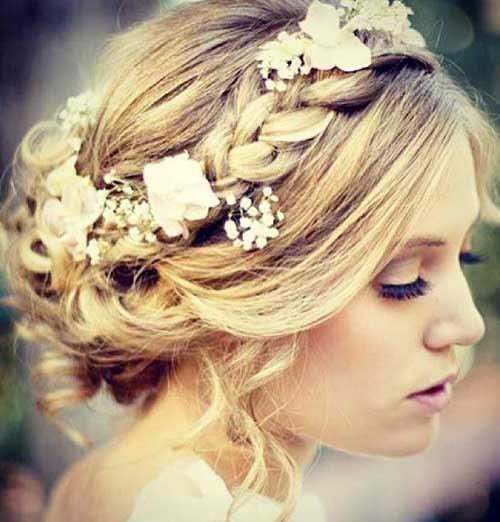 La mejor boda linda Updo con flores