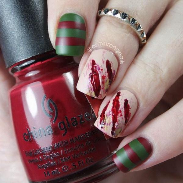 Freddy Krueger Special Effects Nail Art. Ideas de arte de uñas de Halloween.