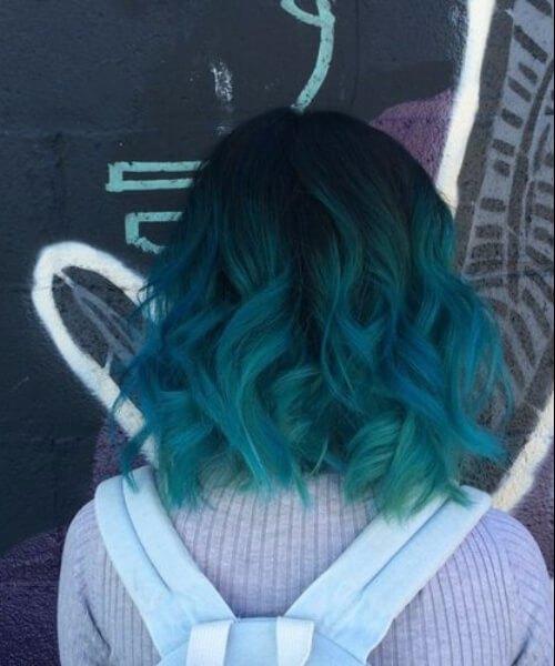 ondulado bob teal color de pelo