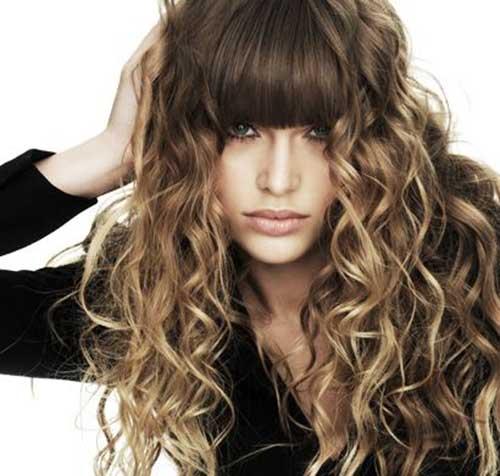Mejor pelo largo y rizado con flequillo